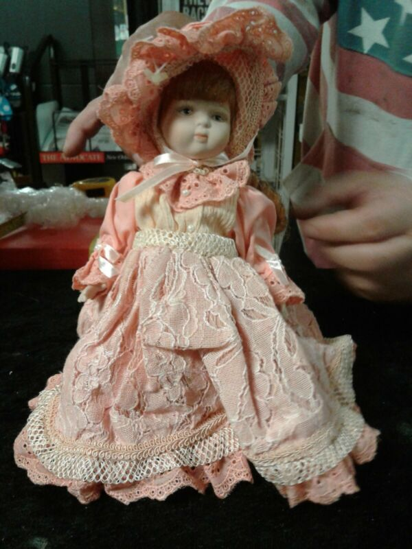 FRAGILE porcelain hand made doll PINK AND TAN New Unique