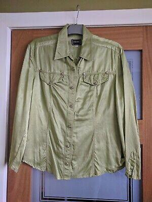 VERSACE Vintage Green Silky Shirt, Beautiful Detail, Size Medium
