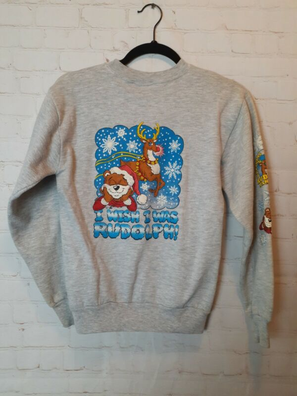 Vintage Rudolph Fan Club Youth Size Large Christmas Crew Neck Sweat Shirt