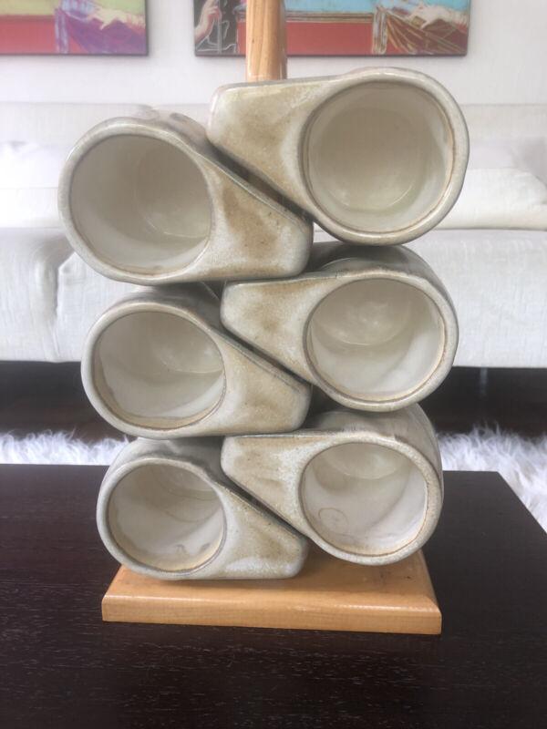 Set of 6 PADILLA Mexico Handmade Iridescent Drip Edge Stackable Mugs on Stand