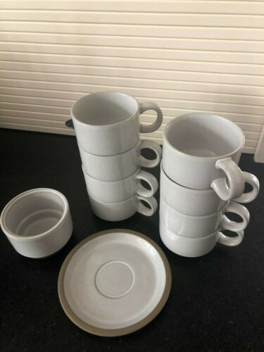 Set of 8 Vintage Midwinter Stoneware Coffee Cups & 8 saucers