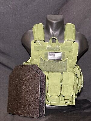PLATES INCLUDED- OD GREEN Vest Tactical Plate Carrier Vest Military SWAT