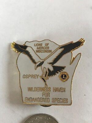 Wisconsin Lions Club International Pin Md 27 Mercer Osprey Wilderness Haven Spec