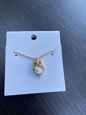 KATE SPADE New York Gold Owl Pendant Necklace Mother Of The Pearl with Pouch