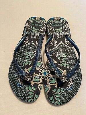 Ladies Women's Havaianas Flip Flops Size 11 Large Blue Floral Print