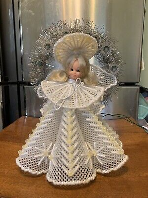 Vintage Tree Topper Angel Beaded And Lights Up With Sparkles One Of A Kind Xmas