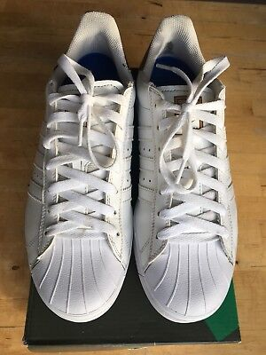 Men's Adidas Originals Superstar Retro Trainers Size 8 in White & Gold Heel