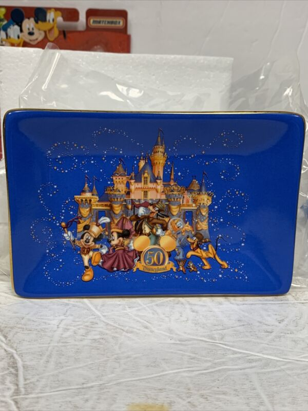 Disneyland 50th Anniversary Candy Dish Gold Trim Fine Porcelain Rare