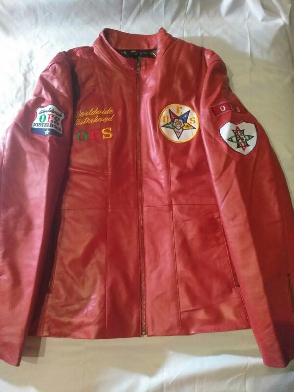 Order Of Eastern Star Red Leather Jacket. Size XL left. 1 XL jacket left.