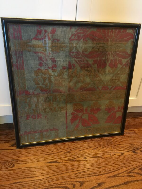 Antique 1846 C. Fehr Emaus PA Jacquard Coverlet Section Mounted & Framed