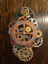 Gear Wall Clock,Steampunk, Wooden, Industrial, Handmade,Gear Collage, Rustic