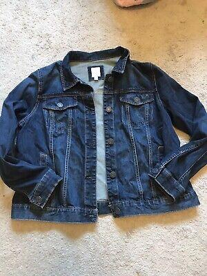 Euc Womens Darkwash Distressed Lauren Conrad Jean Jacket Size Xl
