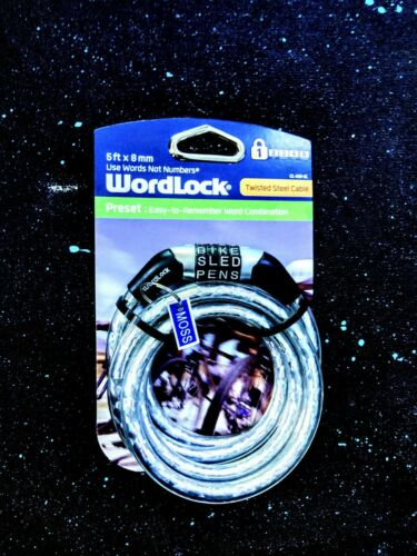 NEW!- Bike lock Word Combination 5ft x 8mm universal twisted