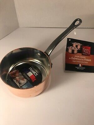 "BAUMALU  5"" X 2 1/2"" 2 mm Copper 1Qt Sauce Pan Made In Alsace France New"
