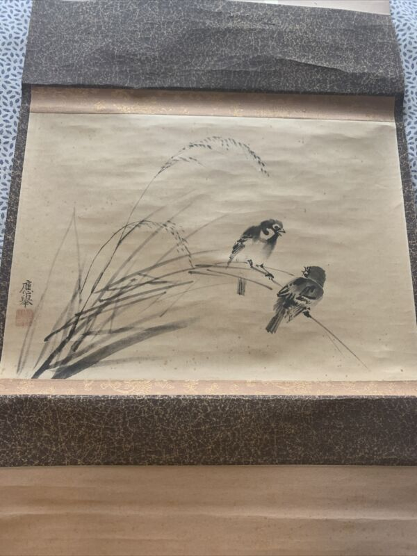 Vintage Old Chinese hanging scroll With Birds  #4