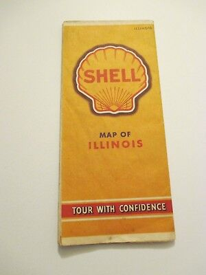 Vintage 1940's Shell Illinios Oil Gas Service Station Road Map
