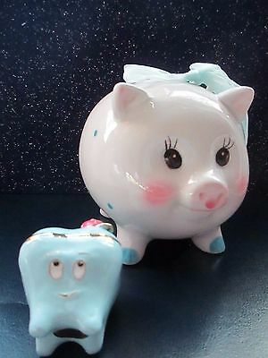 baby boy 1st  tooth keep sake  enamel trinket & blue  pig  polka dot bank