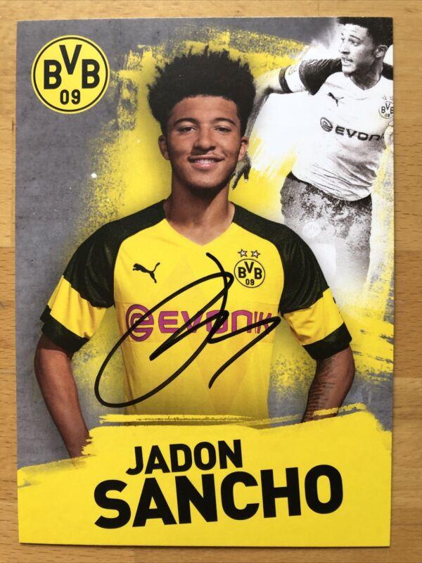 Jadon Sancho Ak Borussia Dortmund Autograph Card 2018-19 Autographed
