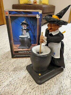 Gemmy Vintage animated lighted stirring witch new halloween factory