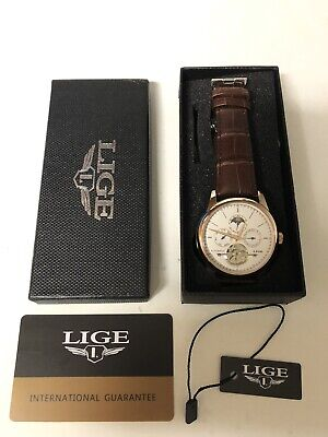 Watch LIGE Classic Mens Retro Automatic Mechanical Luxury Business Free Shipping