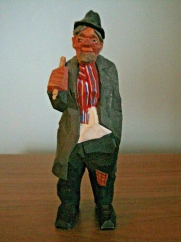 VINTAGE SWEDISH WOOD FIGURE HANDCARVED  OLD MAN SWEDEN  SCANDINAVIAN