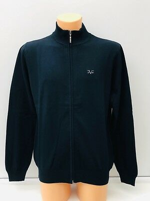 VERSACE 1969 Embroidered Logo Navy Blue Lightweight Full Zip Jumper Size L BNWT