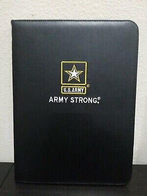 Us Army Fine Black Leather Portfolio Large Yellow Embroidery Patch Writing Pad