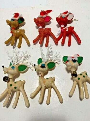 6 VTG MIXED LOT PLASTIC FLOCKED REINDEER CHRISTMAS DEER LONG EYE LASHES TAN RED