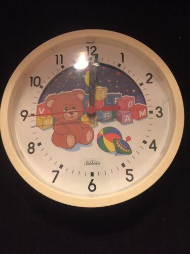 "Sunbeam - Moving Picture Wall Clock - Baby Nursery Kids Room - 8.5"""