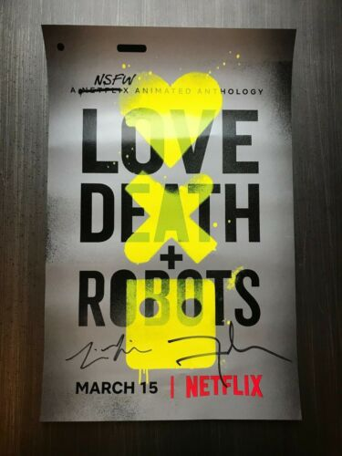 * LOVE, DEATH & ROBOTS * signed 12x18 poster * DAVID FINCHER & TIM MILLER * 1