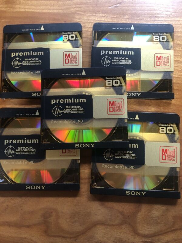Lot of 5  Sony Premium Gold MiniDiscs 80 minute Minidiscs  Gold