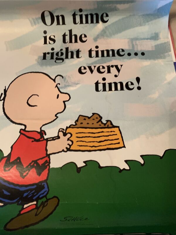 Peanuts Snoopy Super Rare 17x22 Poster Charlie Brown On Time