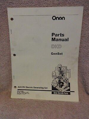 Onan Dkd Genset Rv- Generator Parts Manual Oem