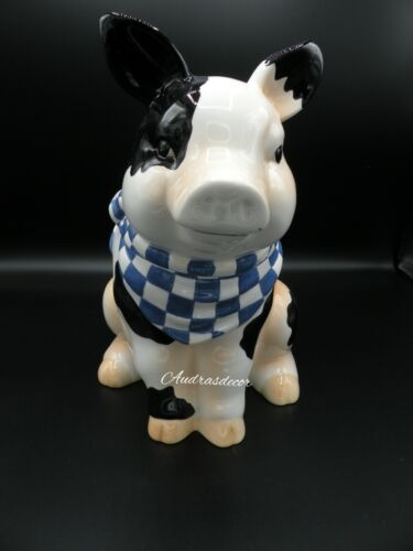 Country Farm Pig Large Cookie Jar  Hand Painted Ceramic New Item