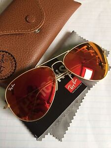 Ray Ban Red/Orange Coloured Aviators