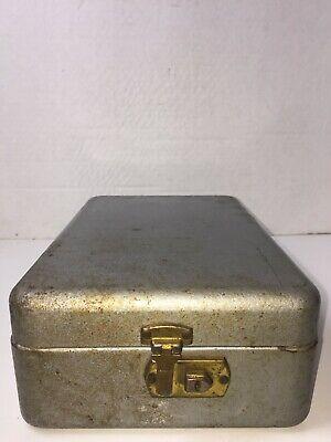 Vintage Hammered File Box Metal Steel Index Card Business Recipe 12 X 7.5 X 4