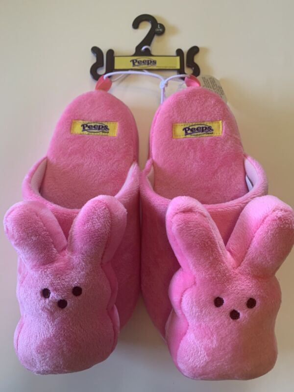 NEW Peeps Plush Bunny Slippers Pink Youth Size Large 3/4 NWT