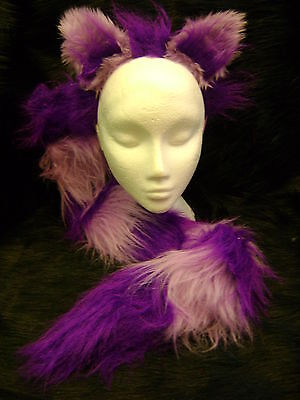 cy Dress Ears And Tail Set Purple & Lilac Fur Cat Costume (Cheshire Cat Tail)