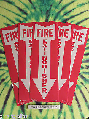 Lot Of 5 Self-adhesive Vinyl Fire Extinguisher Arrow Signs...4 X 12 New