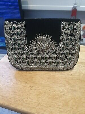 Vintage Beaded Black Velvet Clutch Bag Very Boho