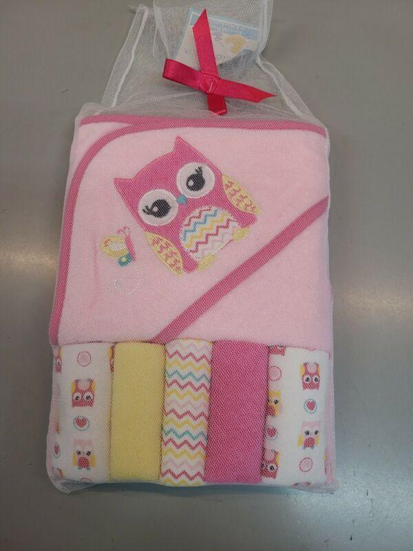 Cribmates Girls Hooded Towel & 5 Washcloths Bath Time Gift Set, Owl, Pink