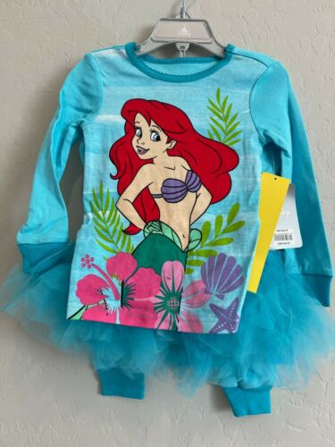 NWT DISNEY STORE ARIEL 3pc Little Mermaid PJs TUTU Princess Pajamas SZ 3