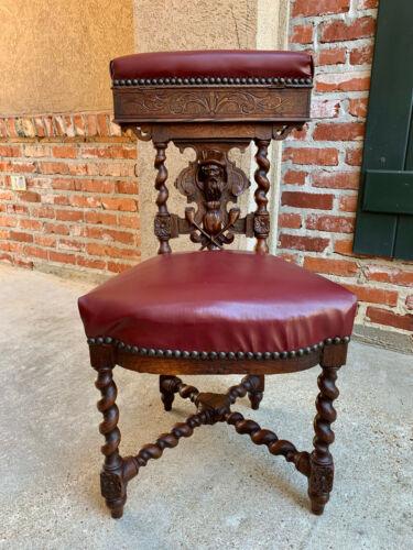 Antique French Carved Oak Smoking Chair Fumeur BARLEY TWIST Breton