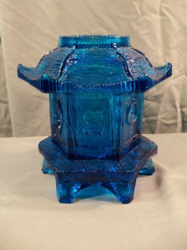 L.E. Smith #6303 Blue Glass Pagoda Oriental Lantern Courting Fairy Lamp
