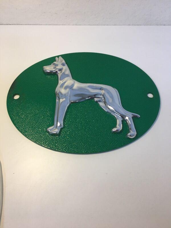 Cast Aluminum Great Dane Dog Sign Embossed Semi Truck Emblem