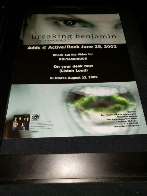 Breaking Benjamin Polyamorous Rare Original Radio Promo Poster Ad Framed! #2