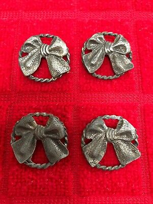 Vintage BUTTONS (4) Metal/Open Work BOWS-RARE