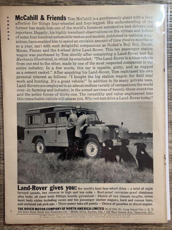 Vintage Print Ad - 1960 - Land Rover - Tom McCahill & Black Labs
