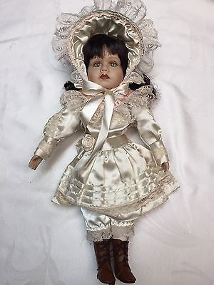 """Vintage Porcelain 16"""" Doll With Black Hair & Boots"""