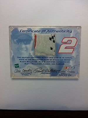 Nascar #2 Rusty Wallace collection card with one piece of  original Uniform